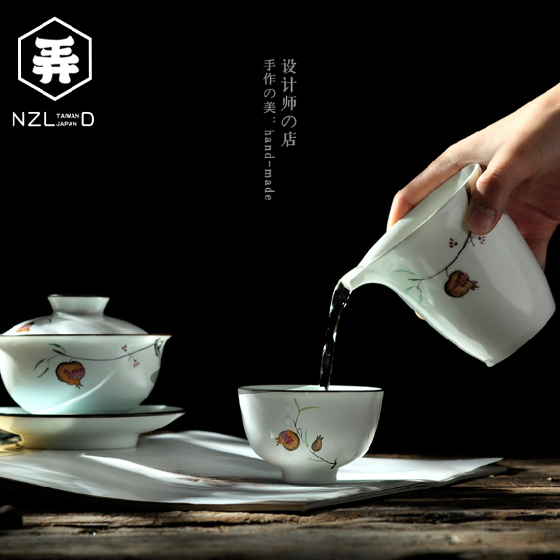 Lane house. jingdezhen painted ceramic kung fu tea set covered tea cup entire household gift box