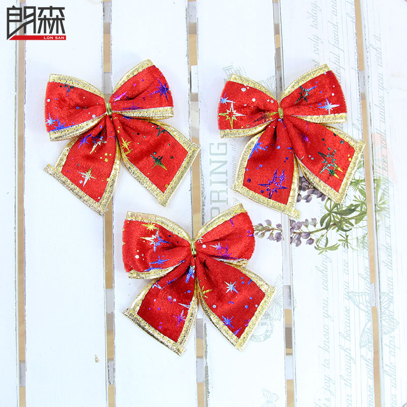 Lang sen 10cm red phnom penh printing red christmas bow bow christmas tree decorations christmas