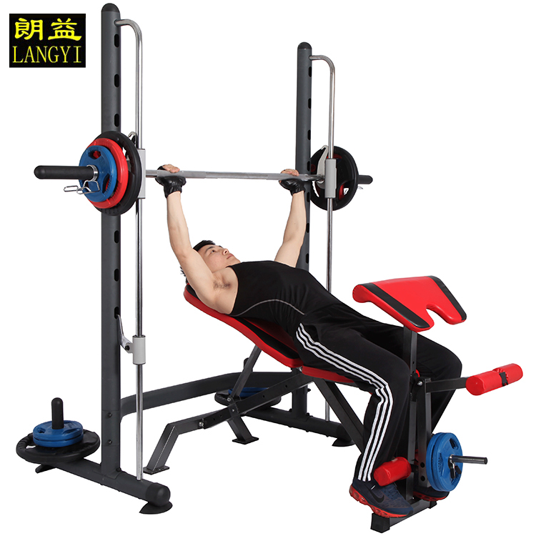 Lang yi multifunction smith machine squat rack weightlifting bed bench press rack barbell package split combination and security tracks