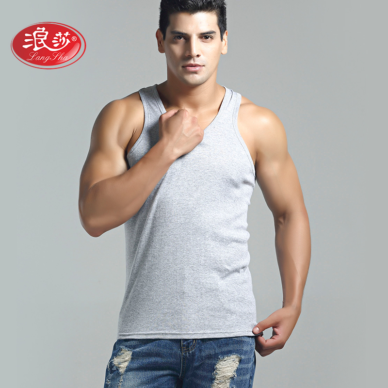 Langsha male solid color men rib vest the word vest small vest bottoming shirt solid color cotton men