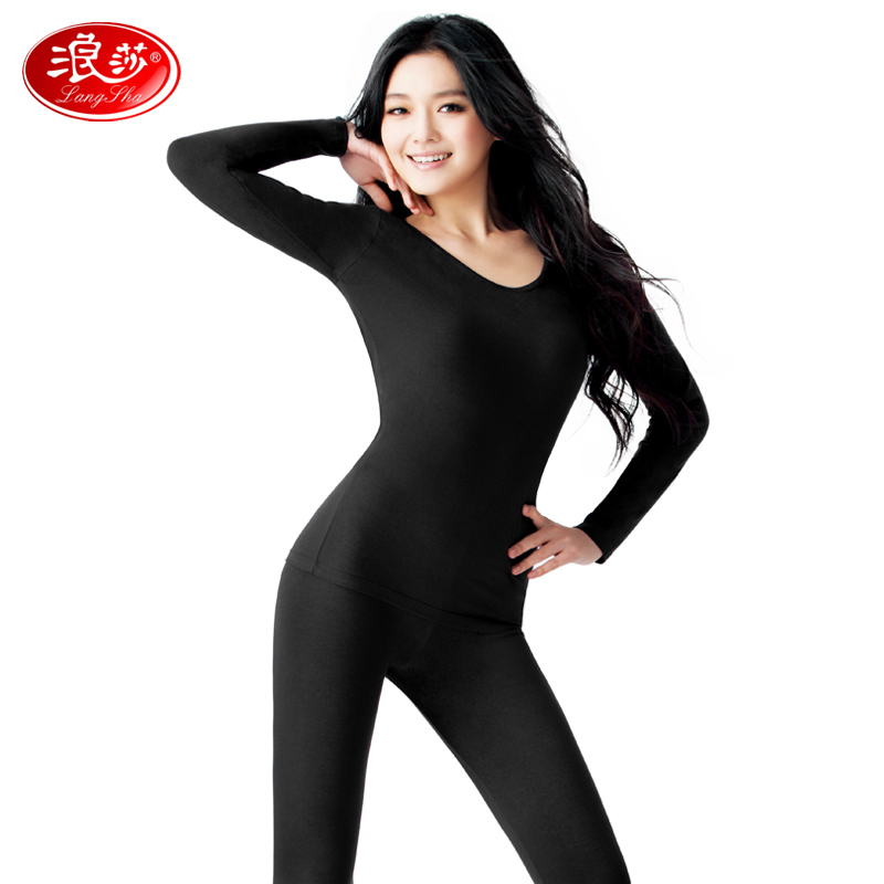 Langsha thermal underwear female suits qiuyiqiuku modal basis bottoming thin section round neck cotton sweaters ms.