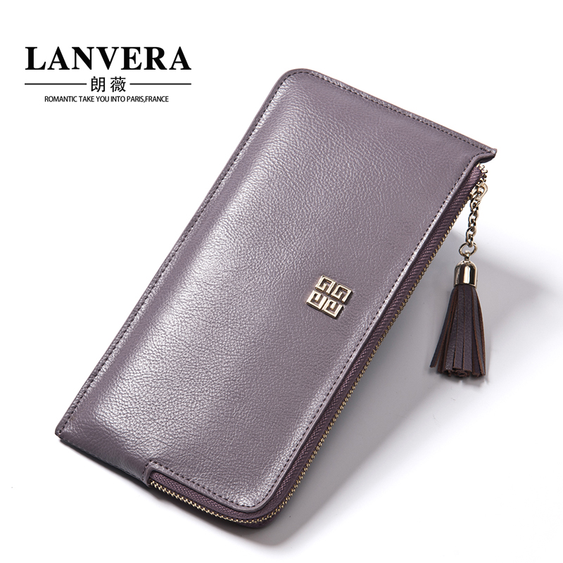 Lanvera lang jorvi japan and south korea the new fringed leather first layer of leather clutch wallet ms. long wallet women