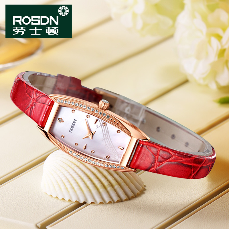 Laoshi dayton genuine leather ladies watch ladies watches square diamond fashion red wrist table 3187