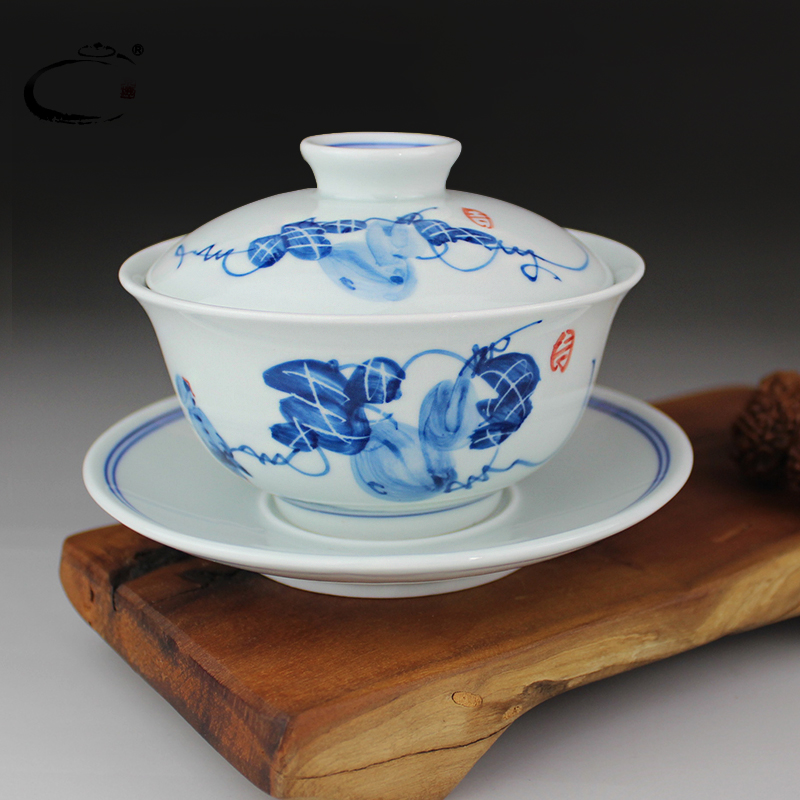 Large blue and white tureen gui xiang jingdezhen hand painted ceramic cup kung fu tea teacup teapot