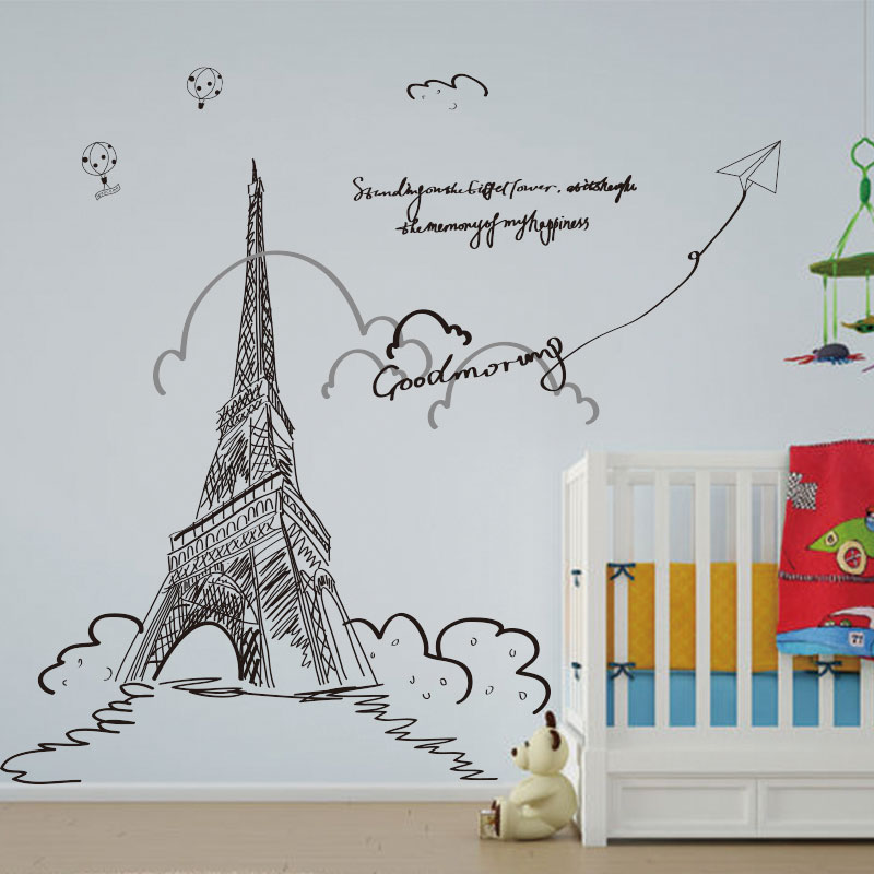 Large european creative bedroom living room tv backdrop stickers sticker eiffel tower building wall wall decoration