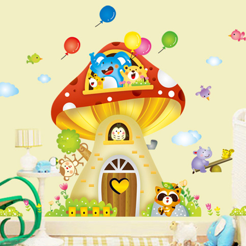Large mushroom house children's room background stickers bedroom living room nursery wall stickers decorative stickers can be removed klimts