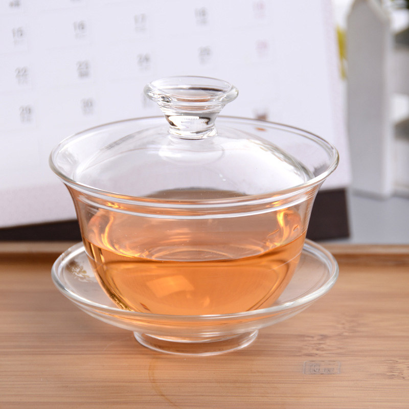 Large thick transparent heat resistant glass covered tea cup bowl with god kung fu tea hundred hong tea teacup