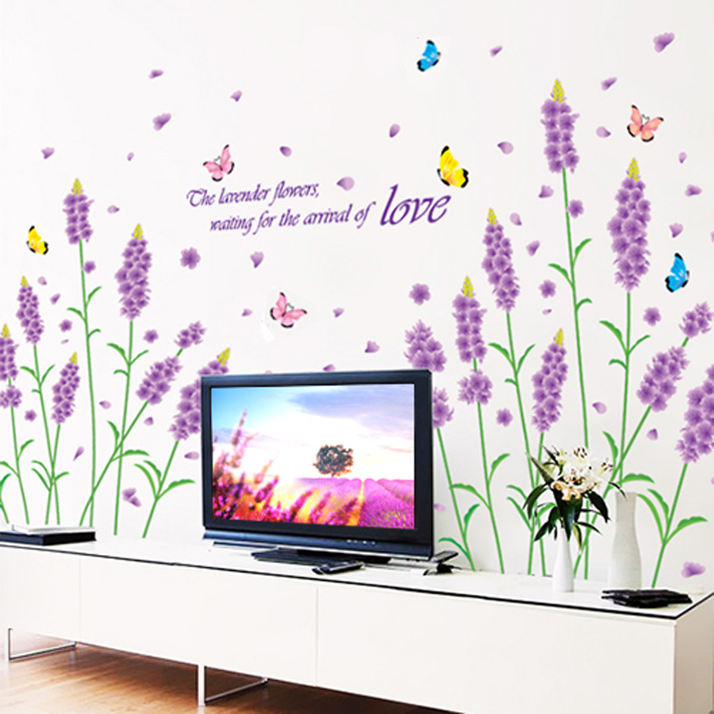 Lavender romantic marriage room bedroom bedside wall stickers living room sofa tv wall background creative klimts