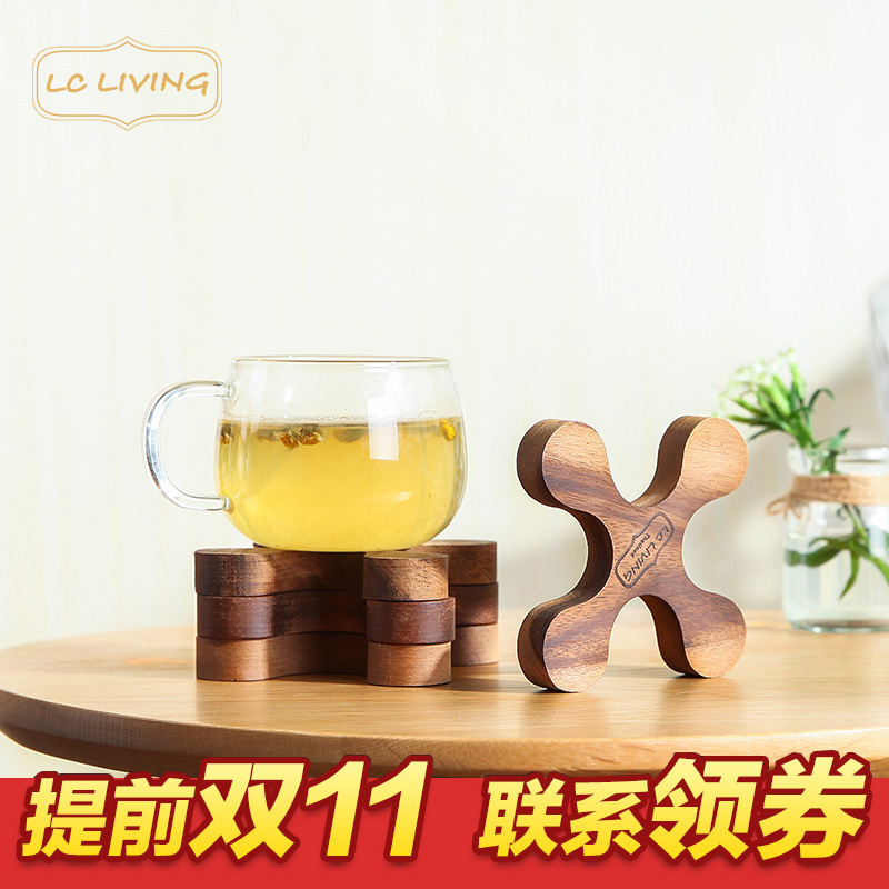 Lcliving acacia wood bowls mat table mats coasters insulation pad imported from thailand bathmat pattern 4 loaded
