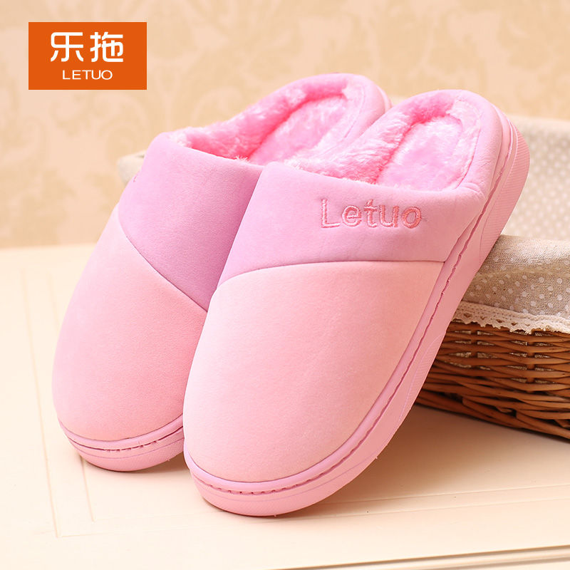 Le drag lovely warm winter plush cotton slippers thick crust men and women couple slip waterproof pu leather slippers home slippers home