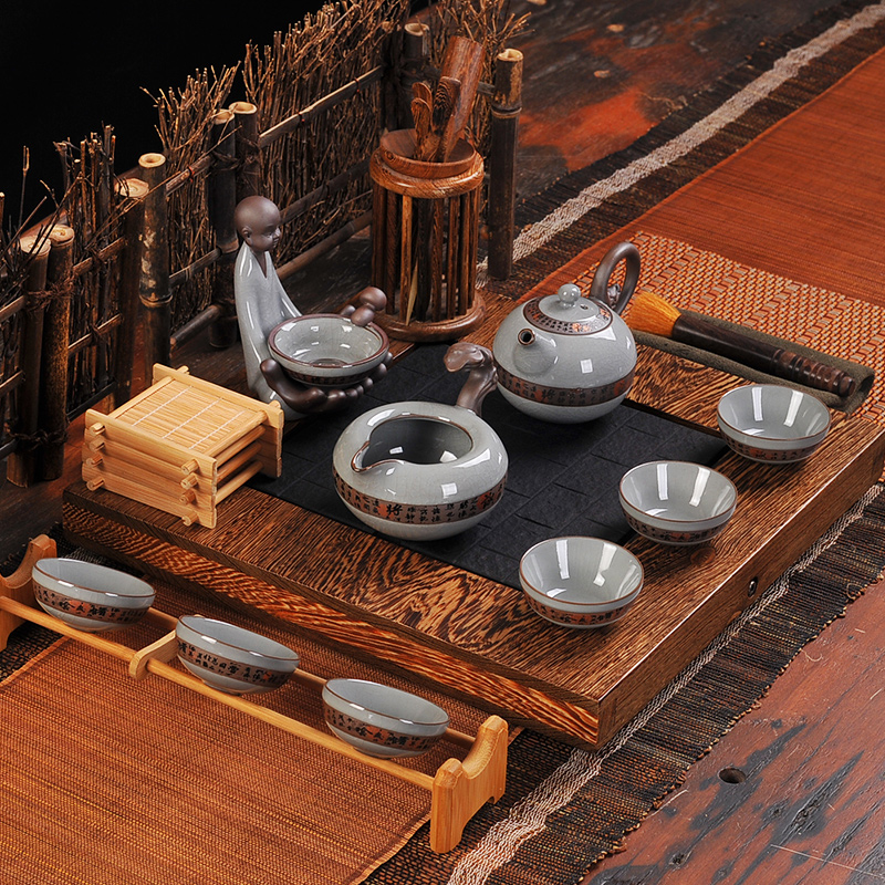 Le tao yuan ge ru binglie ceramic tea set package deals kung fu tea with black stone wood tea tray