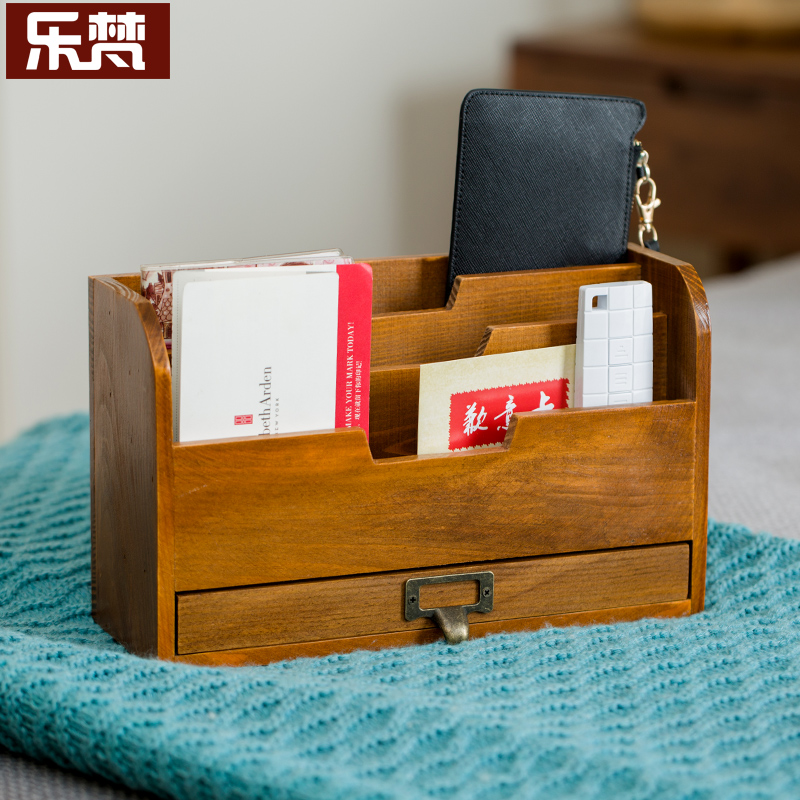 Le van box drawer wooden business card holder creative business office desktop business card holder fashion one piece box ornaments