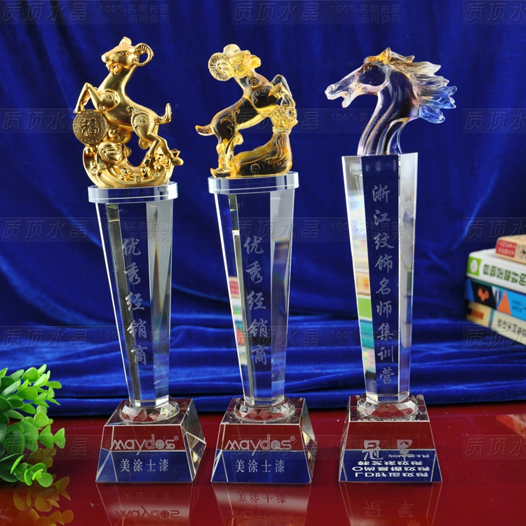 Leader horse crystal trophy crystal trophy made of glass trophy custom lettering upscale business gifts souvenirs ram