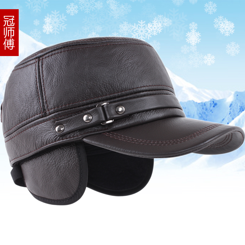 Leather hat male winter warm thick leather men's leather hat winter hat cap flat cap cotton cap ear cap tide