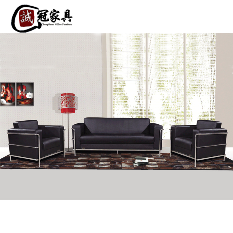 Leather office sofa table combination of modern minimalist furniture business office sofa parlor sofa sofa three bits