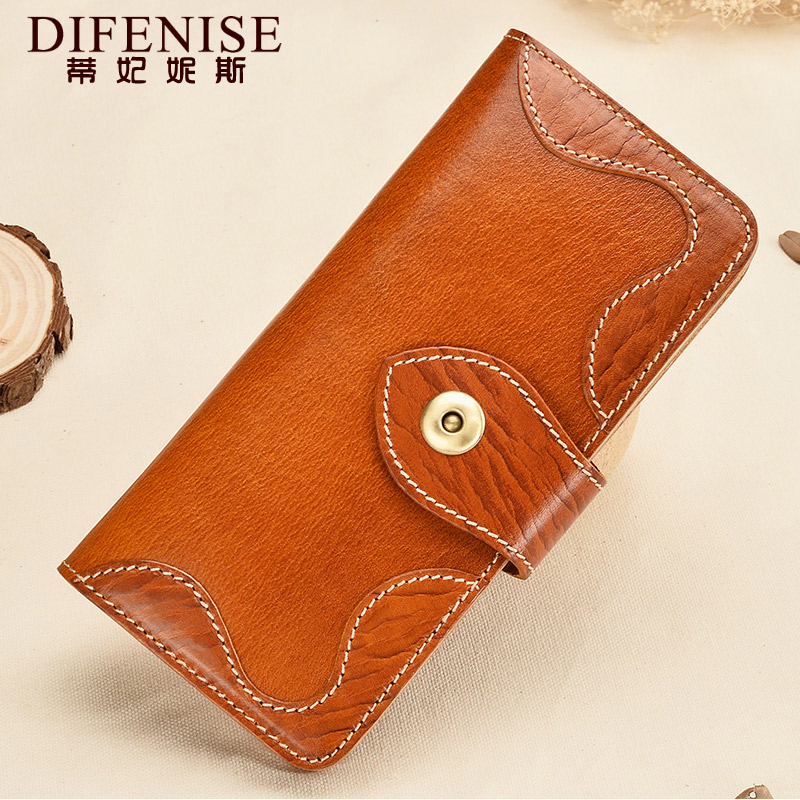 Leather wallet female long section of literary retro leather ladies wallet large capacity ladies hand bag vegetable tanned leather tree cream