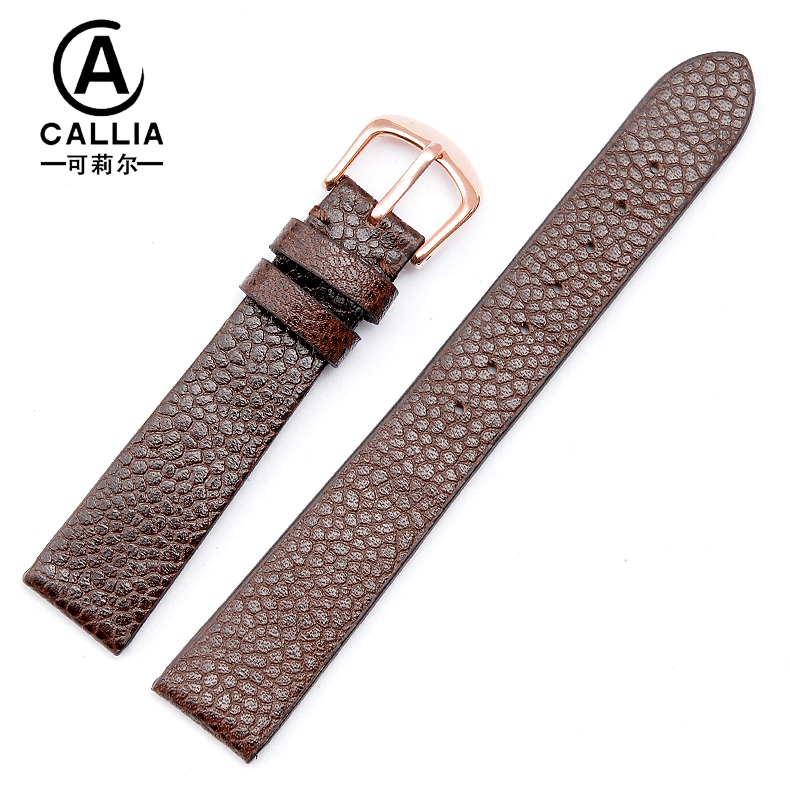Leather watch band strap applicable rossini thin female models first layer of leather strap pin buckle belt accessories 16mm