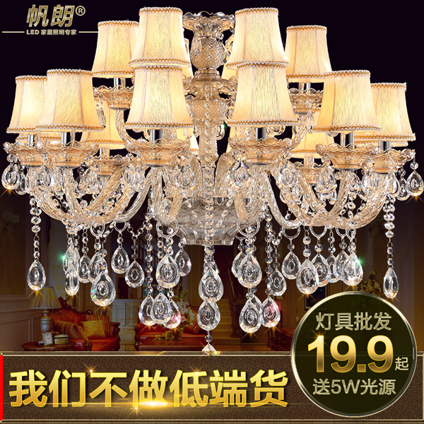 Led european living room chandelier bedroom penthouse floor living room lamp simple european restaurant retro american crystal candle lamp