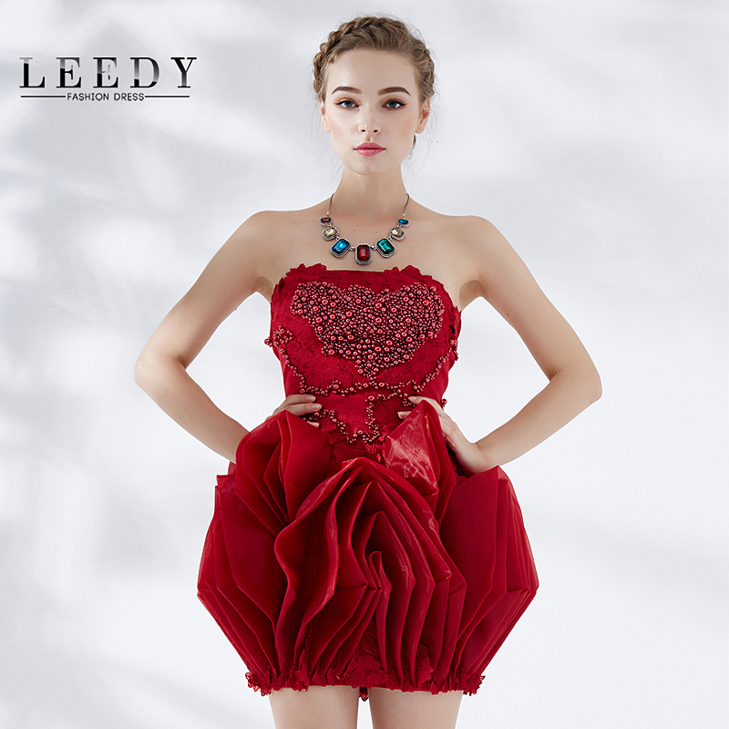 Leedy pinch pleated bubble beads bra short paragraph evening dress banquet evening dress 2016 new summer skirt