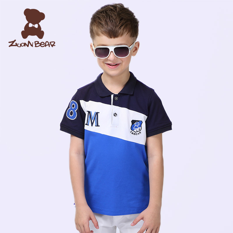 Left meter bear kids boys summer short sleeve t-shirt cotton children's t-shirt big virgin korean version of the new cotton t-shirts