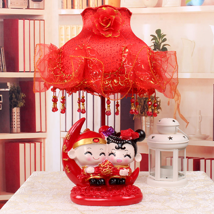 Lei yun wedding gift ornaments red lamp bedroom bedside lamp creative wedding gift wedding marriage room table lamp