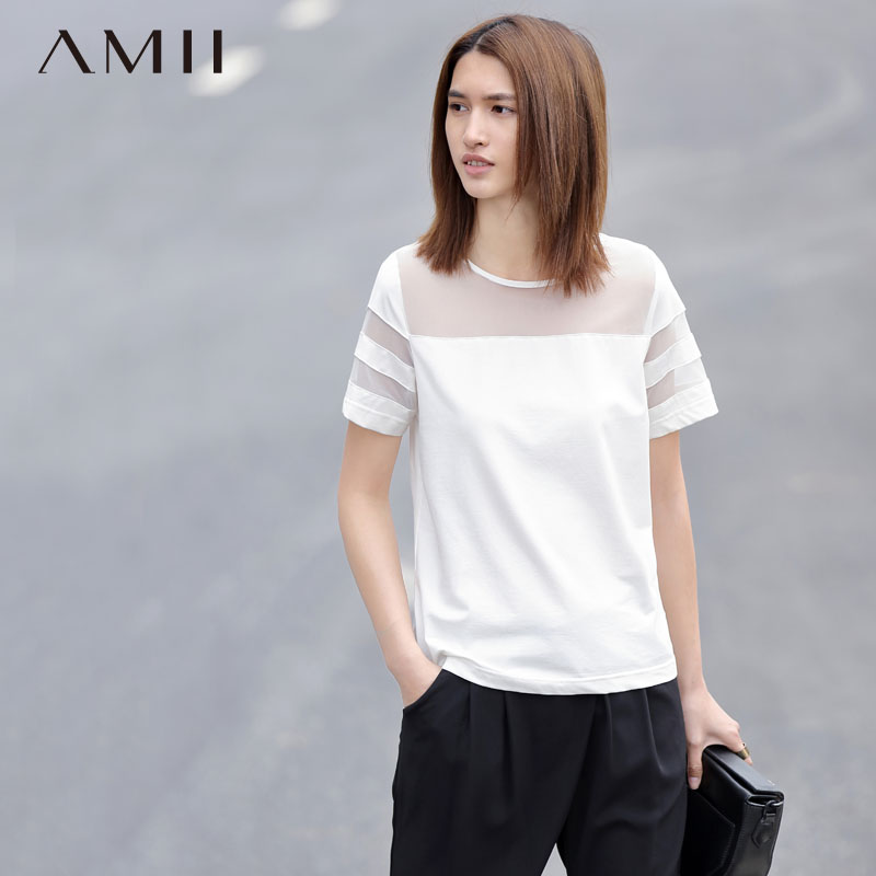 Leisurely summer slim solid color printing large size women wild summer openwork knit t-shirt sleeve head bottoming cotton