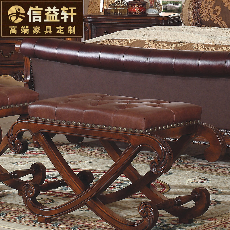 Letter benefits xuan custom furniture european solid wood bed end stool shoes stool american leather bed collapsed CW-003
