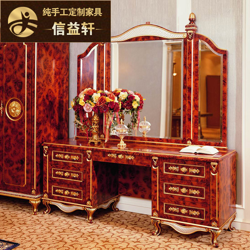 Letter benefits xuan european dressing table dresser solid wood french court burgundy bedroom furniture dresser dressing table with mirror