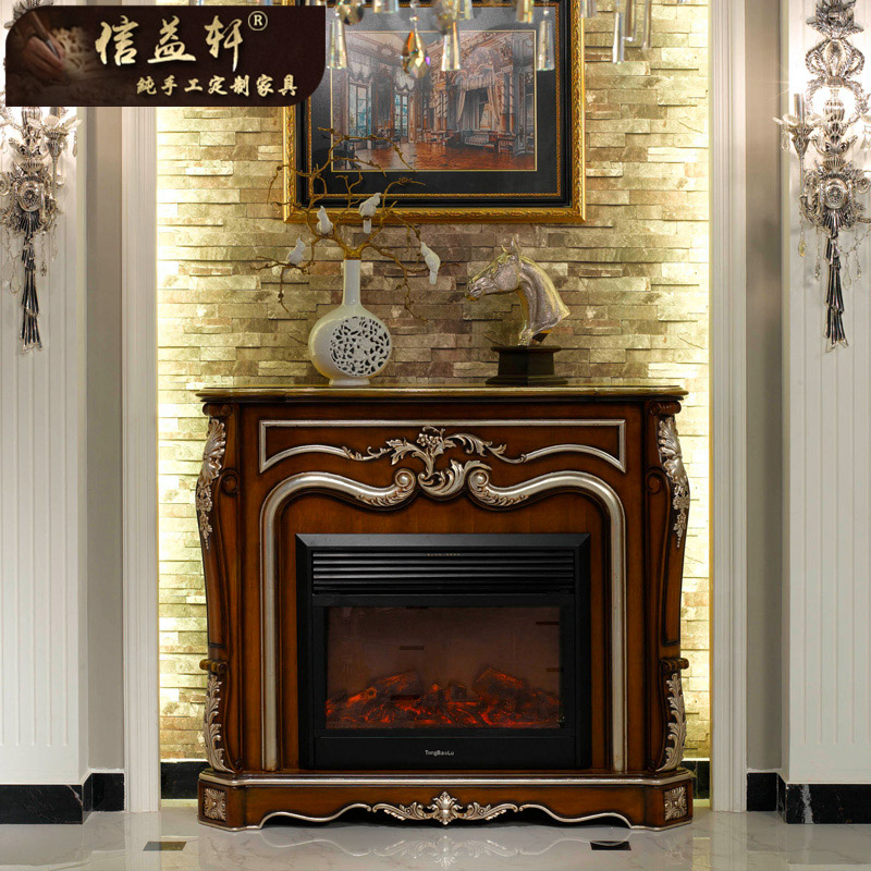 Letter benefits xuan european luxury villa living room fireplace decorative frame french wood fireplace mantel cabinet custom furniture