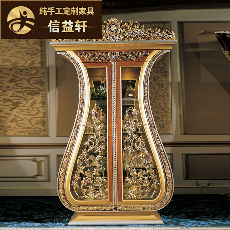 Letter benefits xuan european wine wood carved french luxury living room glass door cooler golden wine