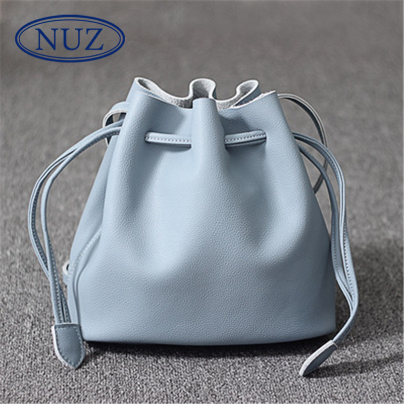 Letter dated 2016 from the nuz ms. european and american fashion new solid color drawstring bucket bag shoulder bag messenger bag 6975