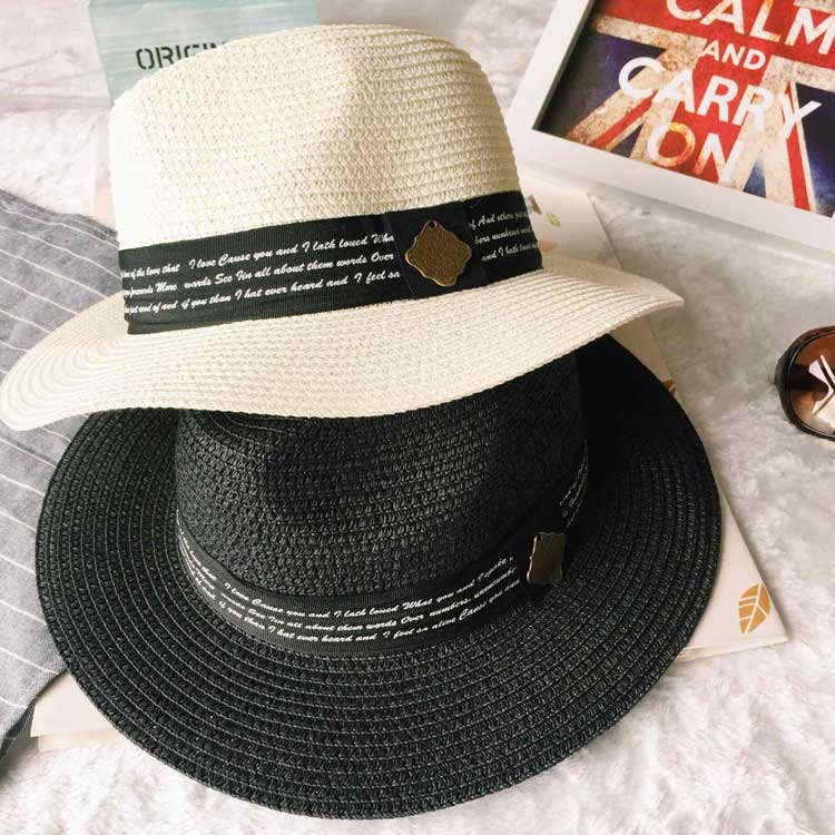 af970bbec4a Get Quotations · Letter pendant casual straw hat unisex casual hat sun hat  sun hat spring and summer wild