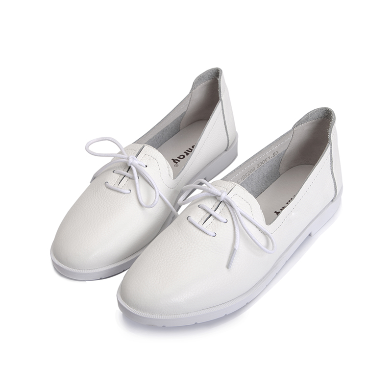 Levin pure 2016 autumn deep mouth singles shoes with lace round flat white shoes toe layer of cow leather flat casual shoes