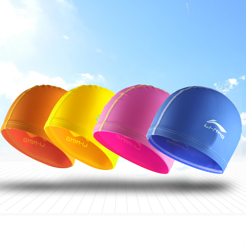 Li ning children slip waterproof swimming cap swimming cap swimming cap swimming cap pu coating swimming cap swimming cap boys and girls children kids youth training
