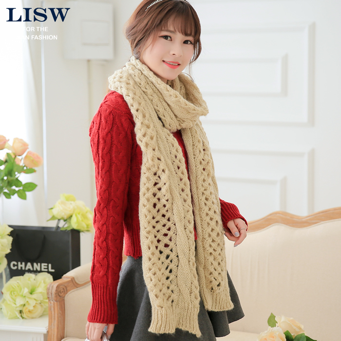 Li shu micro ms. twist long scarf lovers korean version of the fall and winter days warm thick wool mohair scarf line