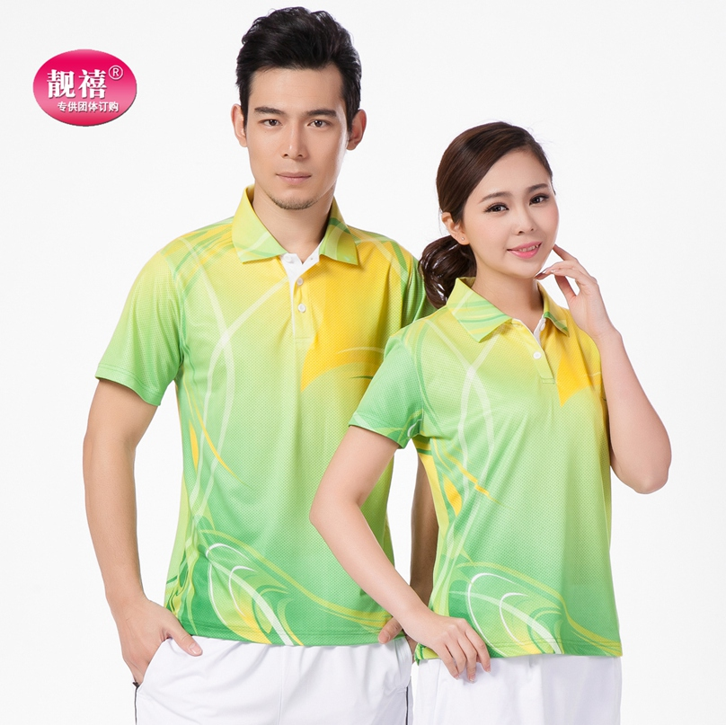 Liang xi amoi large size organizations green lapel casual sportswear short sleeve men short sleeve t-shirt female square dance