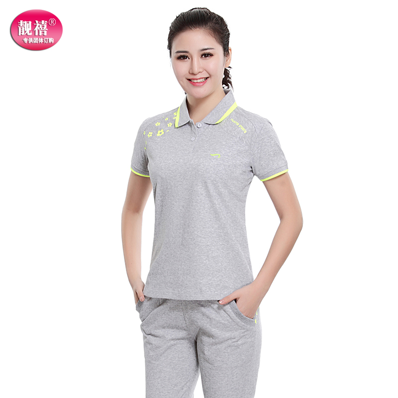 Liang xi short sleeve leisure suit female amoi middle-aged loose big yards thin cotton t-shirt lapel short sleeve t-shirt sports female