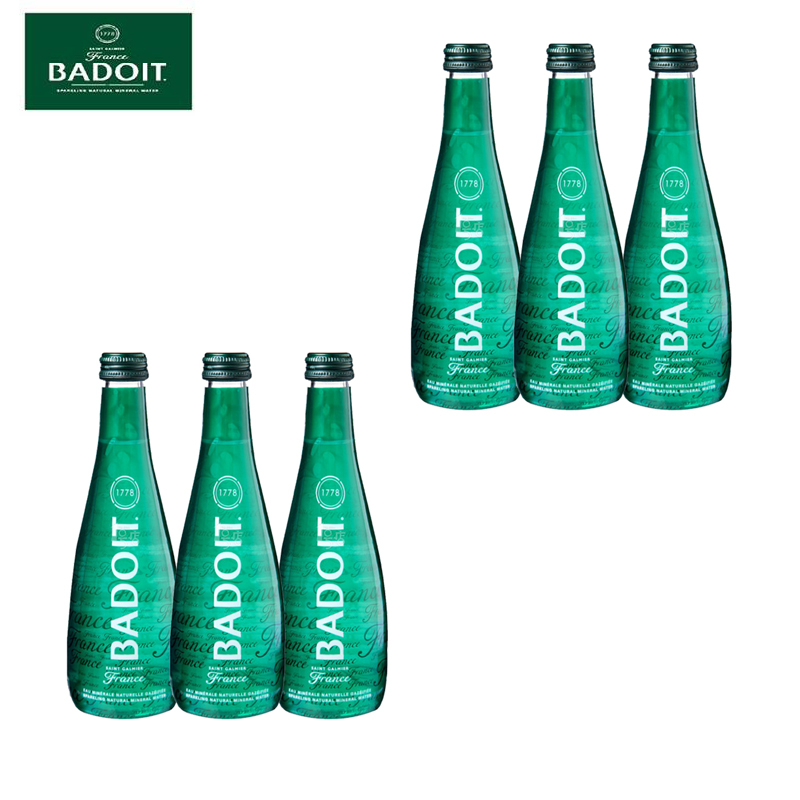 Licensed 6 bottles imported from france badoit/puertorriqueños pro inflatable natural mineral water 330 ml * 6 glass bottle of bubbles Water