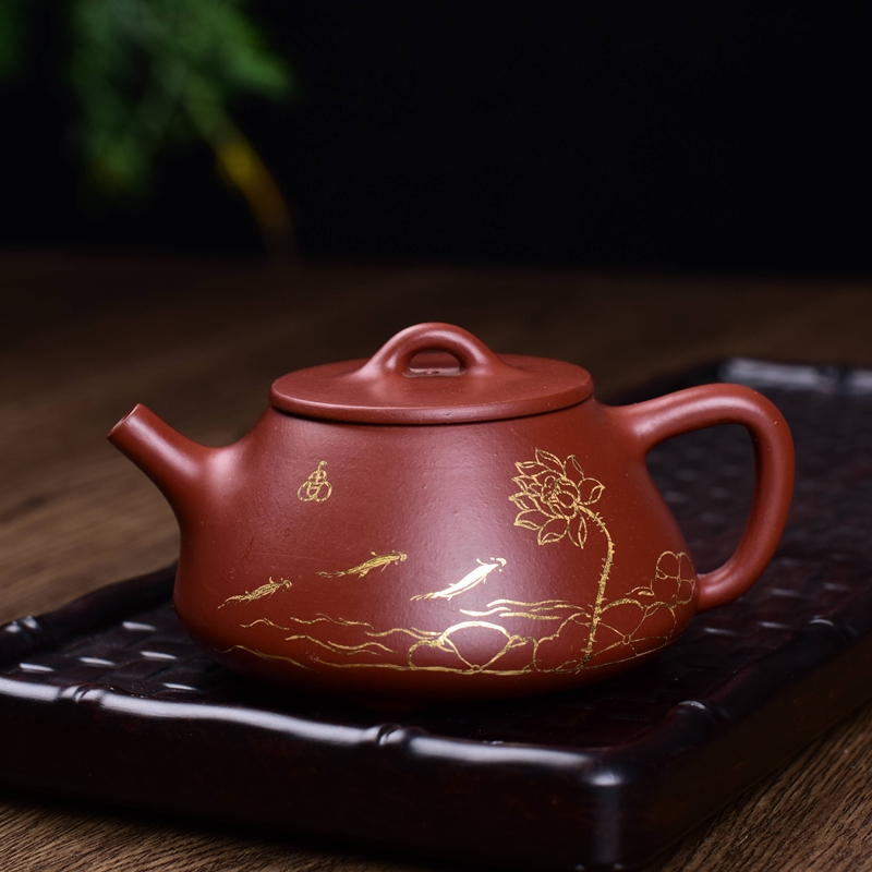 Life church pure handmade yixing teapot big red zhuni beauties stone scoop pot teapot special tea gilt Pot