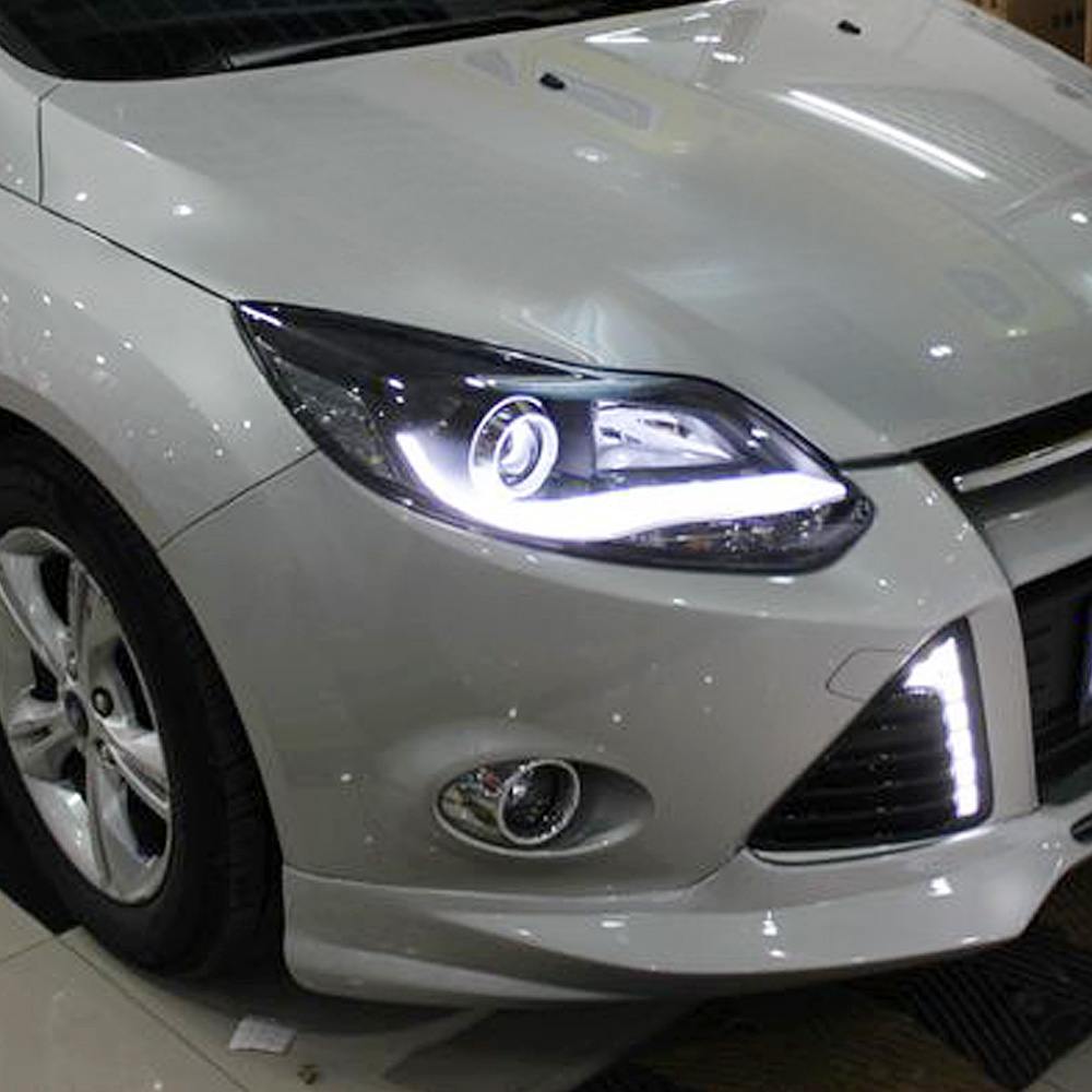 Get Quotations · Light guide led daytime running lights bifocal lens xenon  headlights smkre applicable 12-13 ford