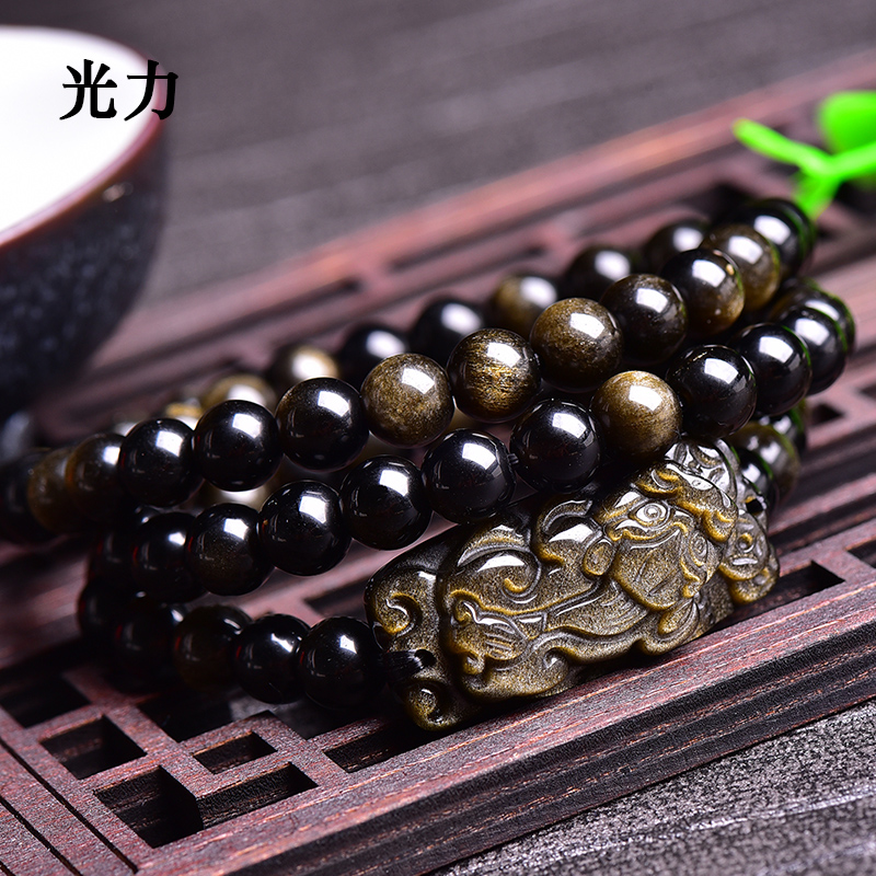 Light of the open light gold obsidian obsidian bracelet gold obsidian obsidian brave buddha beads bracelet bracelets multiturn bracelet 3 laps Men and women free shipping