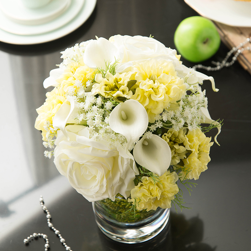 Light yixuan artificial flowers artificial flowers decorative flowers artificial flowers calla lily flower silk flower ornaments floral suit overall floral decoration