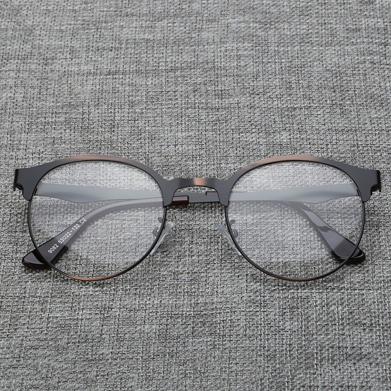 64c80b2a93 Get Quotations · Lightweight retro frames myopia female full frame metal  frame glasses frame plain glass spectacles tide male