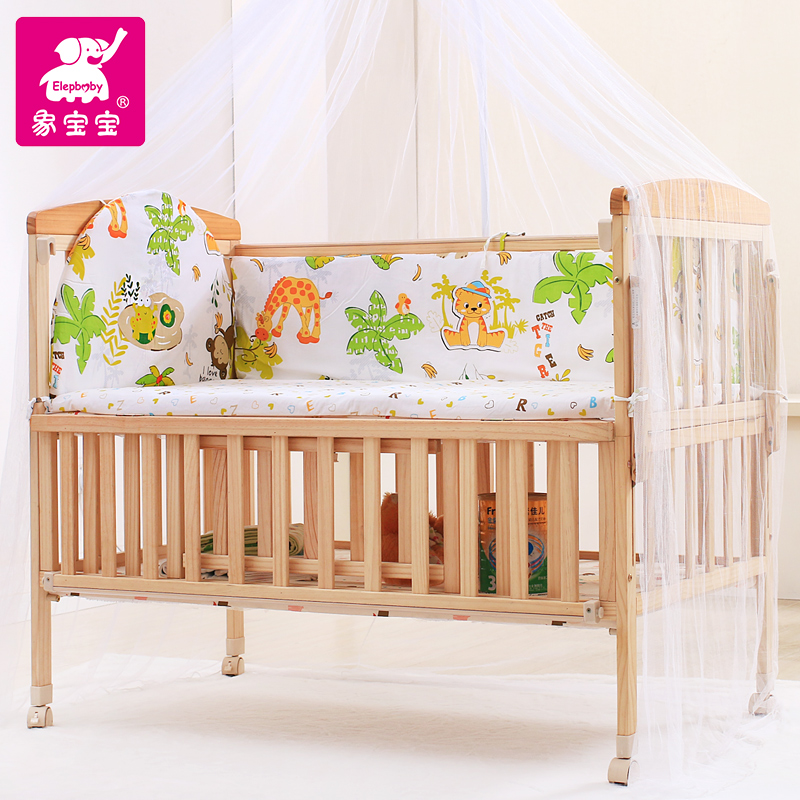 Like baby baby imported wood bed baby cradle bed cot bed folding multifunction baby bed baby bed