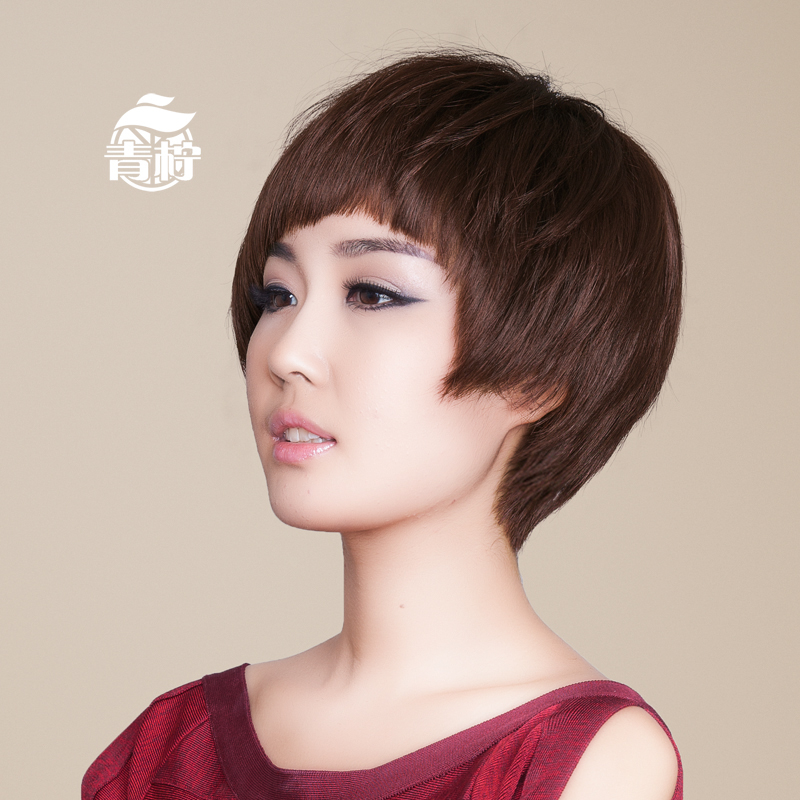Lime wigs human hair full hand woven dark brown genuine female short straight hair wig bobo bobo head fashion