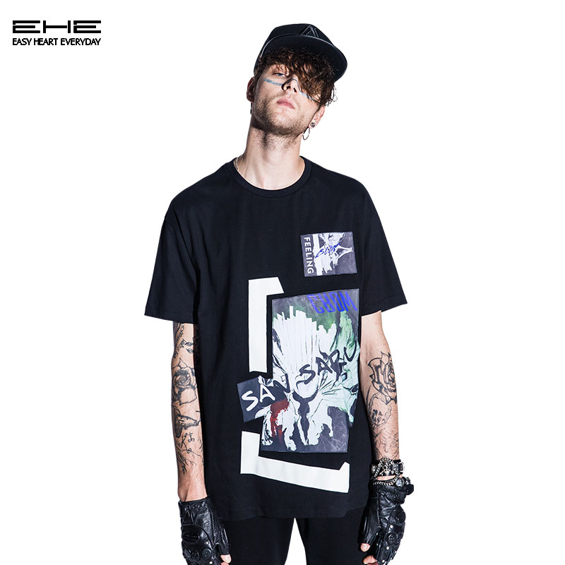 [Limited edition] ehe x crow black loose t-shirt printing 66103163023