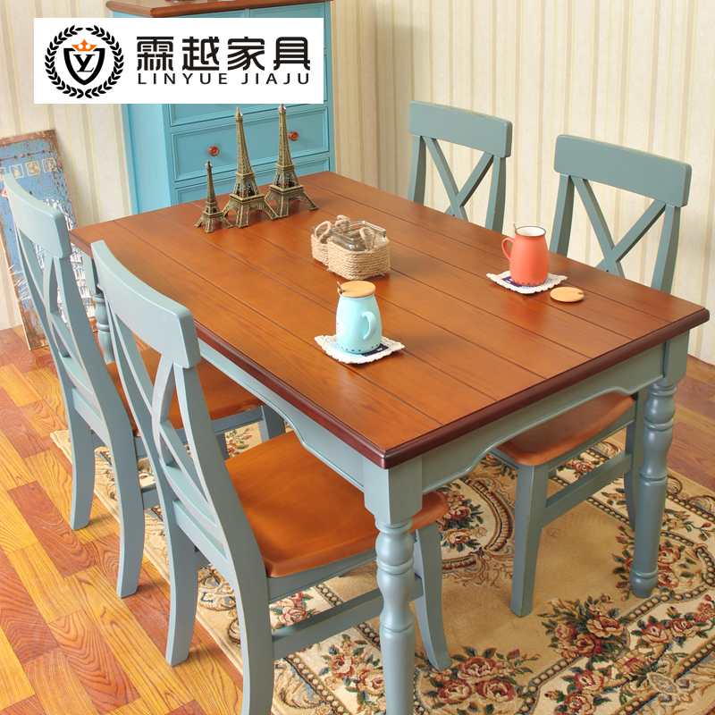 Lin the combination of blue mediterranean american country wood dining tables and chairs contadino shaped wood rectangular dining table dining table