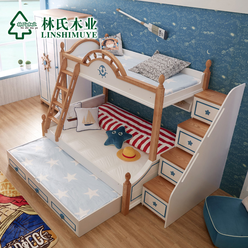 Lin wood mediterranean children's bed picture bed bunk bed bunk bed bunk bed boy bed with bookshelf BJ3A *