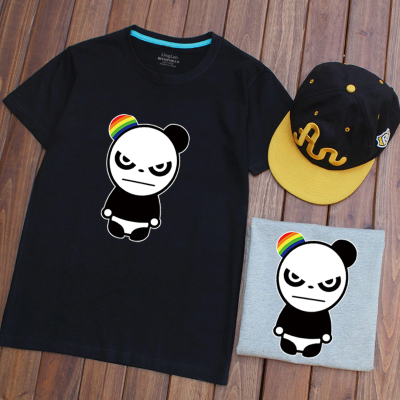 Ling basket leisure tide brand in europe and america rainbow panda ears cotton round neck t-shirt short sleeve t-shirt small fresh students