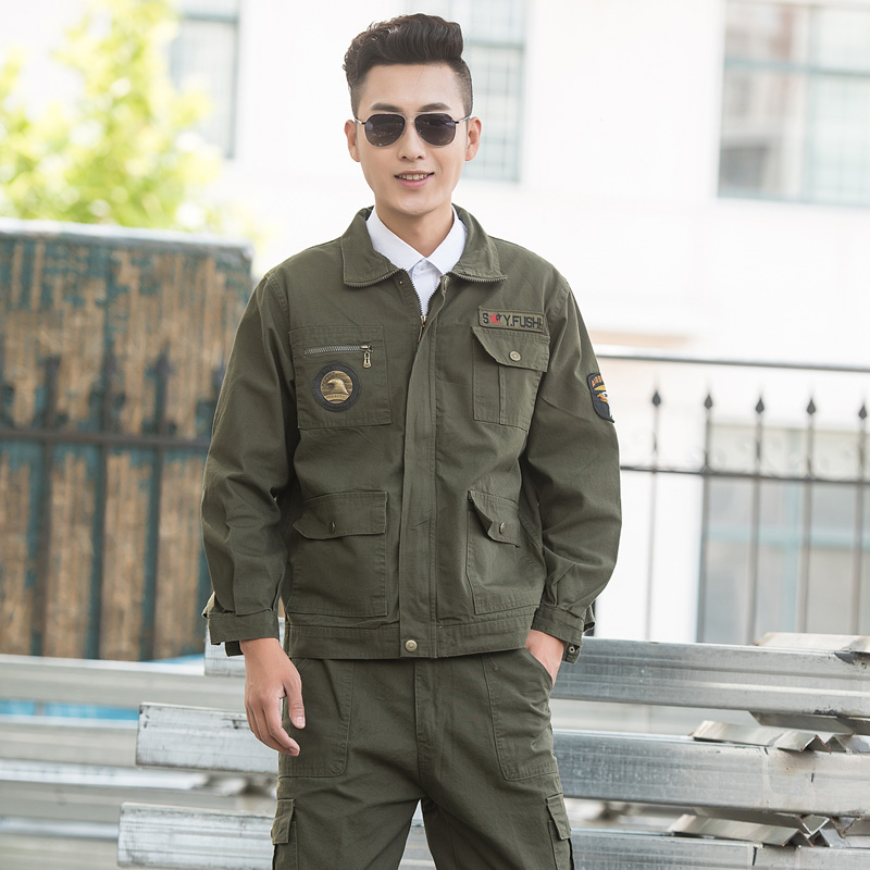 Ling qi army green field army special forces men and women labor overalls suit training uniform army training uniform welding clothes suit